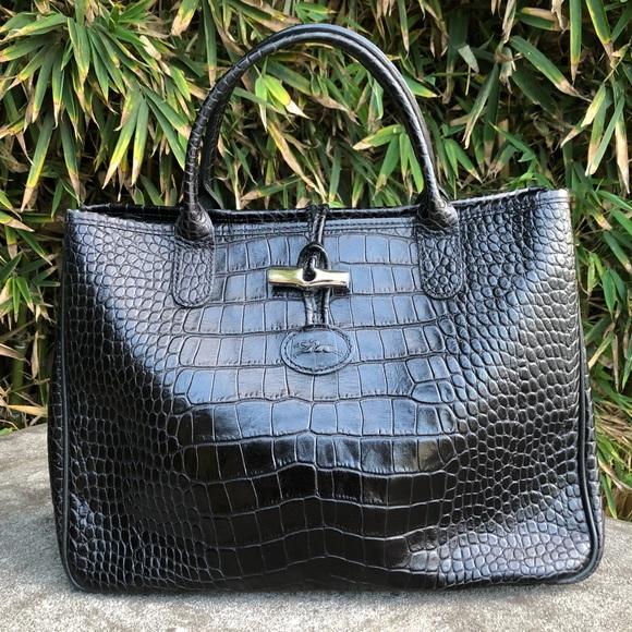 """Longchamp """"Petit Roseau"""" Croc-Embossed Tote """